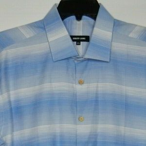 Jared Lang Men's Blue Ombre Stripe Button Down Lon